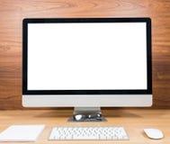 Biurowy monitoru komputer, mysz na drewnianym stole Obraz Stock