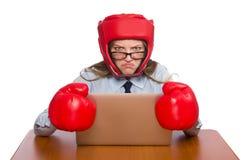 Biurowy pracownik przy akcydensowymi jest ubranym pudełkowatymi rękawiczkami Zdjęcia Royalty Free