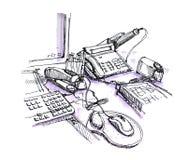 Biurowy pracujący biurko przestrzeni rysunek Fotografia Stock