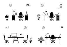 Biurowy wewnętrzny czarny i biały set Sali konferencyjnej ikona royalty ilustracja