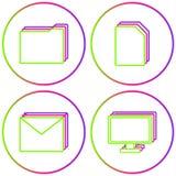 Biurowych ikon koloru okręgu sieci Wektorowy set royalty ilustracja