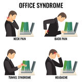 Biurowych syndromów illnesses wektorowe ilustracje ustawiać na bielu ilustracji