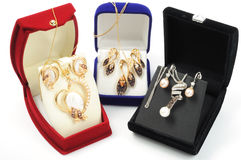 biżuteria złociści sety Zdjęcie Royalty Free