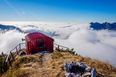 Bivacco Dino and the sea of clouds, Italy Stock Photo