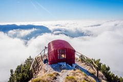 Bivacco Dino and the sea of clouds, Italy Stock Image