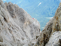 Bivaco Corno Grande in rocky peaks of Apennine Mountain Range Stock Images