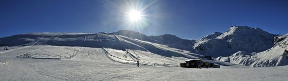 Bivio Ski Resort. Mountain scenery in swiss ski resort Bivio - Switzerland Stock Photo