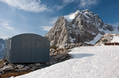 Bivouac. With a nice view on the mountain Stock Photo