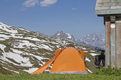 Bivouac on Klausen pass Royalty Free Stock Images