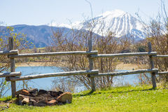 Bivouac on the Lake.Abruzzo.Italia. Royalty Free Stock Images