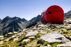 Bivouac mountain shelter. Exterior of the Bivacco Guiglia, old mountain bivouac free sleeping shelter in the maritime alps Italy stock images