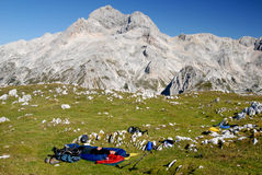 Bivouac in the mountains Stock Images
