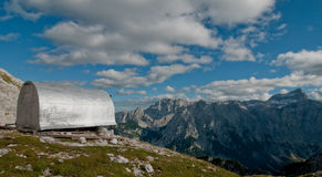 Bivouac in the mountains. High alpine bivouac in Julian Alps Royalty Free Stock Photography