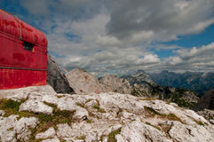 Bivouac in the mountains. High alpine bivouac in Julian Alps Stock Photos