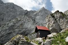 Bivouac Nogara bellow the summit of Mangart on the italian side of frontier in Julian Alps in Italy Royalty Free Stock Photos