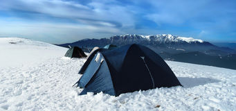 Bivuac in Carpathian mountains. Tents on the top of the mountain Piatra Mare (1830 m altitude Stock Photos