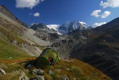 Bivvy in the Alps. Tent bivvy facing Mt Blanc de Cheilon Stock Photography