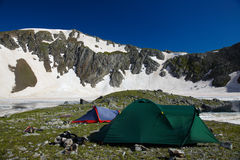 Bivvy wih tents  in the mountains Stock Image