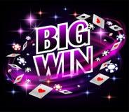 Biw-Gewinn Kasino-spielender Schürhakenentwurf Pokerfahne mit Chips und Spielkarten Dunkler Hintergrund der on-line-Kasino-Fahne vektor abbildung