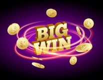 Biw win gold design prize for casino jackpot. Luck game banner for poker or roulette. Winner prize sign coins.  royalty free illustration