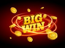 Biw win gold design prize for casino jackpot. Luck game banner for poker or roulette. Winner prize sign coins.  stock illustration