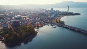 Biwako lakeside, Zeze And Otsu Aerial Footage. Old Azuchi town in Shiga prefecture Japan, aerial footage flying over homes and lakeside stock video