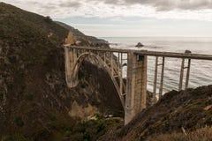 Bixby小河桥梁的看法在日落的在大瑟尔,加利福尼亚,美国 免版税库存照片
