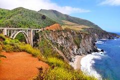 Bixby Bridge Along the Pacific Coast Highway in California Royalty Free Stock Image