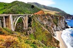 Bixby Bridge Along the Pacific Coast Highway in California Stock Photos