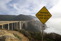 Bixby bridge in Big Sur. Bixby bridge with warning signs stock images