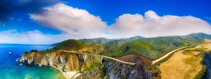 Bixby Bridge and Big Sur aerial panoramic view, California.  royalty free stock photos
