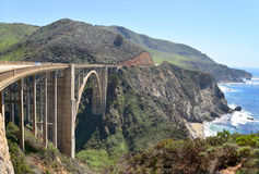 The Bixby bridge 3. The bridge on Pacific Coast Highway, California is an imposing structure. Stock Photos