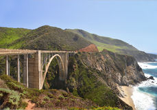 The Bixby bridge 3. The bridge on Pacific Coast Highway, California is an imposing structure. Royalty Free Stock Photography