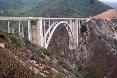 Bixby Bridge-California. Photo of the famous Bixby bridge along the central coast of California near Big Sur.  This is probably the most famous bridge in the Royalty Free Stock Photos