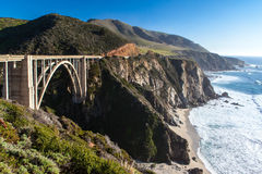 Bixby Bridge and Coastline at Big Sur Royalty Free Stock Images