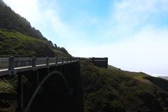 Bixby Bridge Foggy Morning Pacific Coast Highway One.  royalty free stock photo