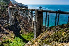 Bixby Bridge with Ocen View and water with blue sky in Californi Stock Image