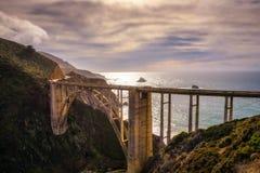 Bixby Bridge and Pacific Coast Highway. Near Big Sur in California, USA Royalty Free Stock Photo