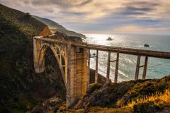 Bixby Bridge and Pacific Coast Highway. Near Big Sur in California, USA Stock Images