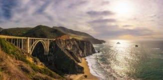 Bixby Bridge and Pacific Coast Highway. Panorama of Bixby Bridge and Pacific Ocean near Big Sur in California, USA Royalty Free Stock Photos