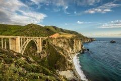 Bixby Bridge and Pacific Coast Highway. Bixby Bridge Rocky Creek Bridge and Pacific Coast Highway  near Big Sur in California, USA Stock Photo