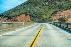 Bixby Bridge road in California, view from a car.  Stock Photo