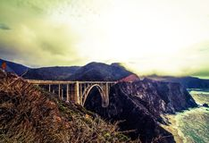 Bixby bridge view with foggy sky Royalty Free Stock Photo