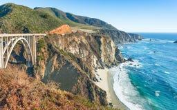 Bixby Canyon Bridge, on the Big Sur coast of California. Bixby Creek Bridge big sur canyon along america beach beautiful california coast coastline francisco royalty free stock photography