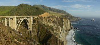 Bixby Creek Arch Bridge. Bridge in Big Sur in California on the Pacific coast Royalty Free Stock Photos