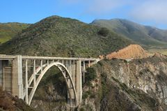 Bixby Creek Bridge. Also known as Bixby Bridge, on the Big Sur coast of California, is one of the most photographed bridges in California. The bridge is 120 stock photos