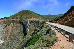 Bixby Creek Bridge near Big Sur on California State Route One. California. USA royalty free stock image