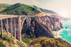 Bixby Creek Bridge On Highway 1 At The US West Coast Royalty Free Stock Photo