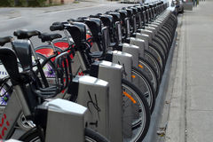 Bixi bicycles at docking station Stock Image