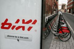 Bixi Fahrräder stockbilder